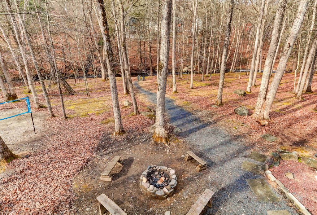 walk past the fire pit